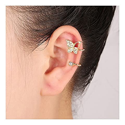 Idin Jewellery - Non-pierced gold tone crystal butterfly ear cuff clip on earrings with gift box