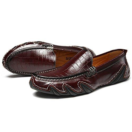 Mens Casual Loafers Herren Slip auf Mokassins Fahrschuhe Rotbraun