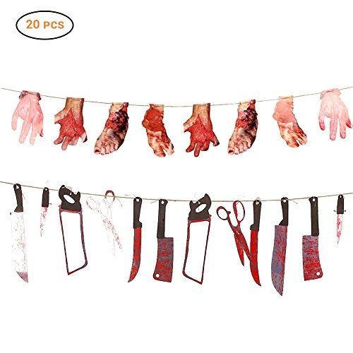 Halloween 20pcs Loody Waffen, Horrorfilm Requisiten, echte Horror, Halloween Zombie Vampir Party Dekoration,