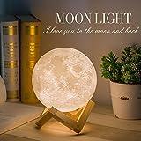 Methun Mond Lampe 3d Druck Kinder Mondlicht Nachtlicht,Dimmbar 2 Farbe USB Lade romantisches Geschenk für Schlafzimmer Geburtstag Weihnachten (5,9 Zoll Mondlicht mit Holzsockel)