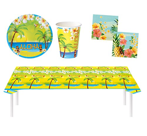 Karneval-Klamotten Party Set Hawaii Sommer Aloha 29 Teile Teller, Becher, Servietten, Tischdecke, Partygeschirr