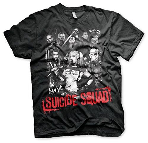Offizielles Suicide Squad 3XL,4XL,5XL Herren T-Shirt (Schwarz) Schwarz