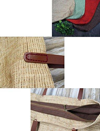 Damen Schultertasche Canvas Leinen Handtasche Vintage Leinen Handtasche Cotton Und Leinen Tasche Uni Schultertasche Damen Outdoor Retro Kaffee