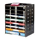 TZZ 9-Schicht-Desktop-Frame-Dokumente Rack Ordentlich Desktop-Organizer für Bürobedarf Haushalt Tägliche Notwendigkeiten Kosmetische Lagerung Schnell und einfach DIY Montage (Farbe : SCHWARZ)