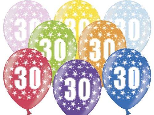 6 Luftballons 30 cm zum 30. Geburtstag - Zufällig gemischt aus 8 Farben - Kleenes Traumhandel®