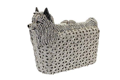 Yilongsheng Femmes Dog façonnées Embrayage Sacs avec Shiny panier Diamonds argent