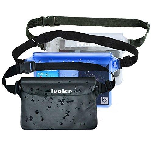 iVoler [3 Unidades] Funda Bolsa Impermeable con Triple Cierre Hermético y Cinta Ajustable/Bolsa Estanca/Bolsas de Deporte para Móvil, Cámara, Efectivo, Mp3, Pasaporte,etc. (Negro Azul Transparent)