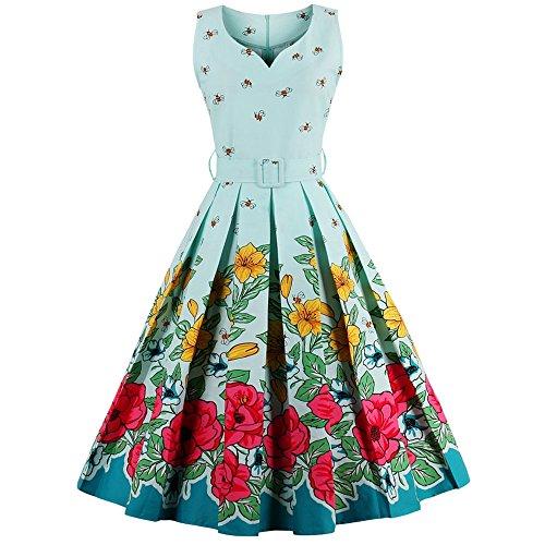 CharMma-Womens-Vintage-V-Neck-Floral-Print-Rockabilly-Swing-Tea-Cocktail-Dress