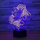 XIHAHAHA poisson 3D lampe à lave créative 7 changement de couleur 3D LED veilleuse...