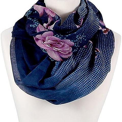 XXL Schlauchschal Infinity Loop Schal Rundschal Blumen Blüten Tube Scarf Floraler Print blau