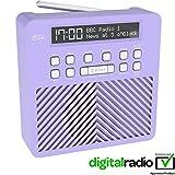 AZATOM Sonance T1 DAB Digital FM Radio Alarm Clock - Speaker System - Dual Alarm - Clock Radio - Rechargable Battery - USB Charging (Purple)