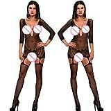 Beikoard Sexy Dessous, Frauen sexy offenen Schritt Strümpfe Gabelung Netz Schiere Körperwäsche Bogenhalter Hängender Hals Net Garn Unterwäsche (Schwarz1201)