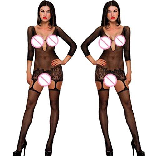 Beikoard Sexy Dessous, Frauen sexy offenen Schritt Strümpfe Gabelung Netz Schiere Körperwäsche Bogenhalter Hängender Hals Net Garn Unterwäsche (Schwarz1201) - La La Schiere Strümpfe