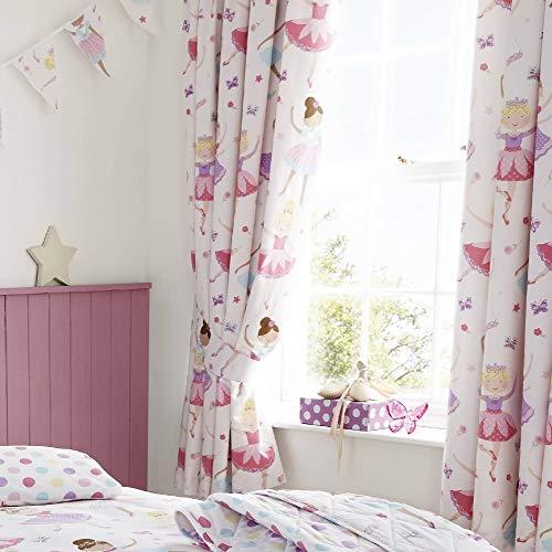 Set de cortinas infantiles de galón fruncido - Estampado con bailarinas de...
