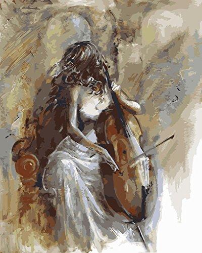 YEESAM ART Neuerscheinungen Malen nach Zahlen für Erwachsene Kinder - Geige und Schönheit Mädchen 16 * 20 Zoll Leinen Segeltuch - DIY ölgemälde ölfarben Weihnachten Geschenke