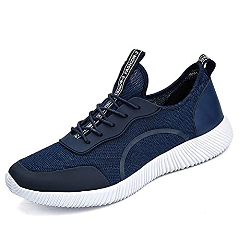 Hommes Chaussures de course léger Taille grande respirante Mesh Sneaker pour la marche Athletic Outdoor Casual Sports Exercise (EUR 48=UK12, Bleu)
