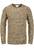 Redefined Rebel Millard Herren Strickpullover Feinstrick Pullover mit Rundhals und Melierung aus 100% Baumwolle, Größe:XL, Farbe:Teak Brown w.Sand