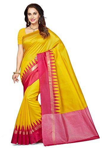 Ishin Bhagalpuri Art Silk Yellow & Pink Party Wear Wedding Wear casual Daily Wear Festive Wear Bollywood New Collection Woven Zari Border Latest Design Trendy Women\'s Saree