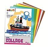 takestop/® Carta Collage RASATA Lucida Adesiva Adesivi Colorati COLORATO Colori Assortiti Album 20x24CM 6 Fogli 80 gr