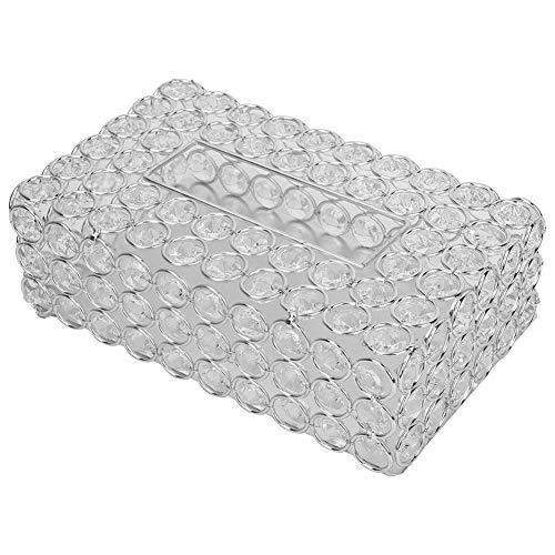 Rechteckigen Kristall Tissue Box Cover Edelstahl Serviettenkoffer für Lagerung und Wohnkultur(Silver)