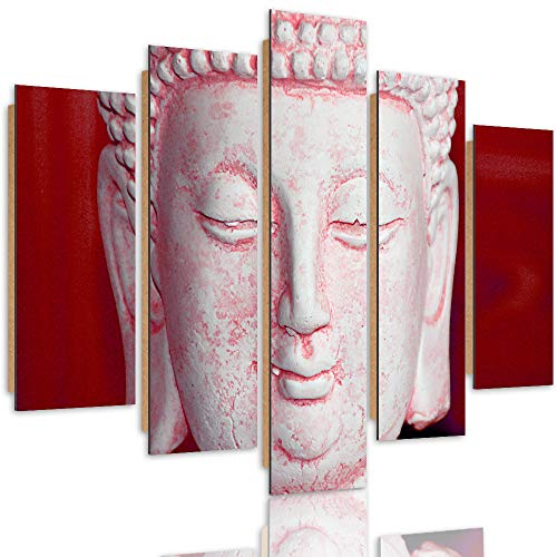 Feeby Deco Panel 5 Teilig Buddha Bilder Modern Skulptur Orient Spa rot 200x100 cm