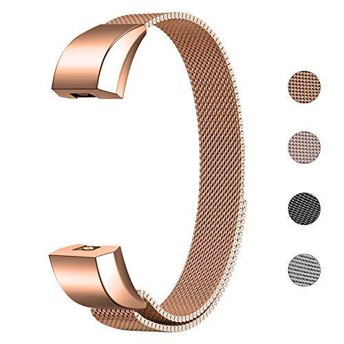 Fulwart Armband Für Fitbit Alta und Alta HR, Edelstahl Ersatz Armband mit Magnetverschluss für Fitbit Alta/Alta HR Armbänder - Roségold
