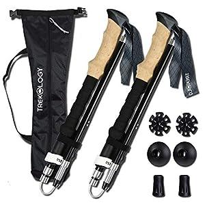trekology trek-z collapsible tri-fold trekking pole/hiking poles - adjustable lightweight aluminum walking sticks, portable trail cane with foam grip for walking, senior trekking, hike, backpacking