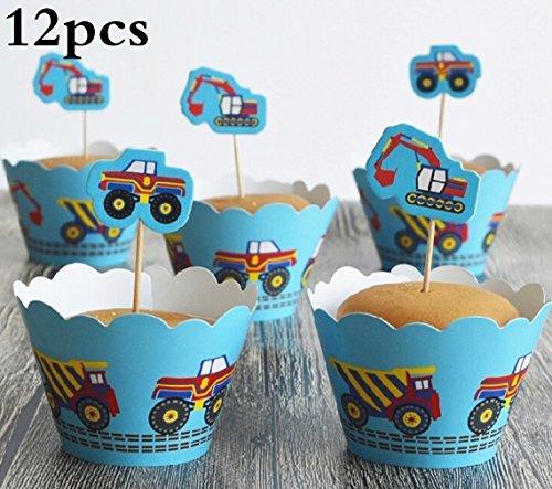 (Cartoon Cupcake Wrappers und Toppers, TheBigThumb Set von 12 Kuchen Toppers Birthday Party Cake Dekorationen Lieferungen Autos Thema für Jungen Kinder Kinder)
