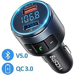 VicTsing Transmetteur FM Bluetooth Voiture V5.0 & Adaptateur Autoradio QC3.0 Double Clé USB pour Chargeur Rapid, Kit Main Libre sans Fil avec écran LED, Mini et Métal, Activer Siri