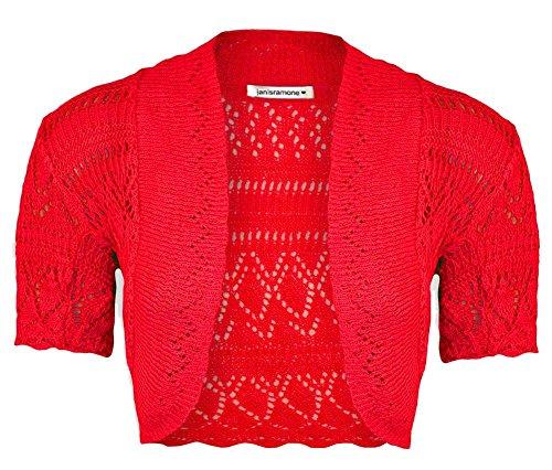 Janisramone nuove Ragazze crochet a maglia corta manica Bolero Shrug Crop Cardigan Cima Rosso