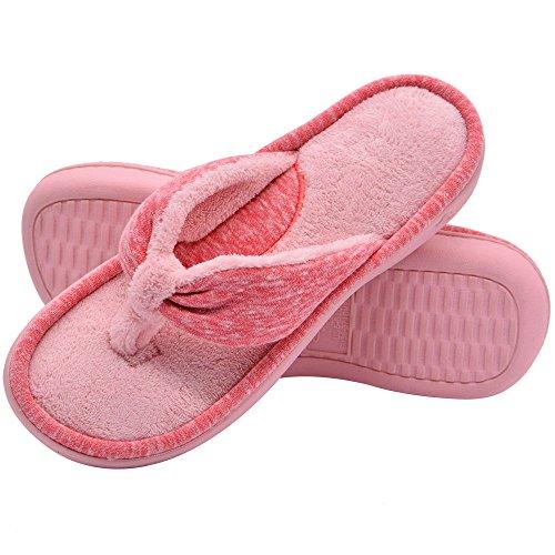 f6e77849f Wishcotton Women s Adjustable Memory Foam Spa Thong House Shoes Fluffy Flip  Flop Slippers (L