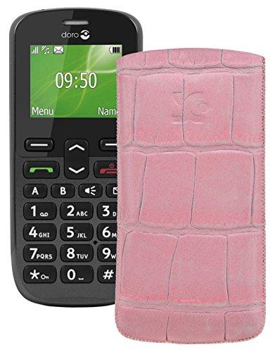 Original Suncase Tasche für / Doro PhoneEasy 508 / Leder Etui Handytasche Ledertasche Schutzhülle Case Hülle *Lasche mit Rückzugfunktion* croco-rosa