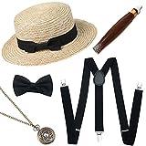 ArtiDeco 1920s Herren Accessoires Mafia Gatsby Kostüm Set Inklusive Panama Gangster Hut Verstellbar Elastisch Hosenträger Herren Halsschleife Fliege Taschenuhr und Plastik Zigarre (Set-3)