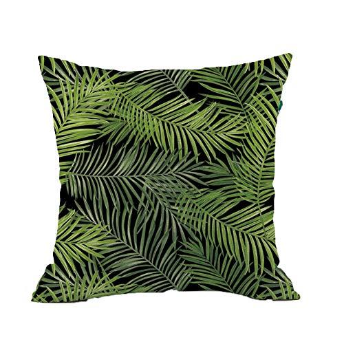 Yisily Selva Tropical Fundas de Almohada de algodón de Lino Tropical Hojas de Palma Fundas de Cojines...