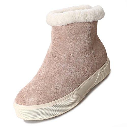 Winter da pelle HSXZ Snow per stivali piatto in rotondo Scarpe nero Toe donna mandorla tacco Nubuck Calf Almond Mid Casual stivali Boots nAw55YqI