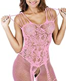 Buauty Womens Floral Lace Fishnet Open Crotch Bodystocking Lingerie for Sex