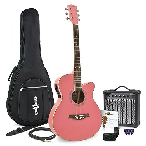 Guitarra Electroacústica Single Cutaway Rosa + Ampli de 15W Gear4music