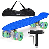 """Yorbay (Upgrade Version) 22"""" monopatín Skateboard Retro con la Bolsa y T-Herramientas ABEC- 7 Rodamiento Rueda LED-PU de 59MM hasta 100kg (Tabla Azul/Ruedas LED Transparentes)"""