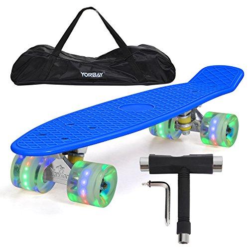 """Yorbay (Upgrade Version) 22\"""" Retro Skateboard Komplett Fertig Montiert mit Tasche und T-Tool (Deck Blau/ LED transparent Räder)"""