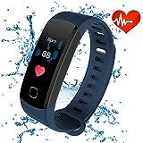 Rastreadores de fitness con pantalla en color, Rastreador Inteligente a prueba de agua con Bluetooth ALANGDUO con monitor de ritmo cardíaco para Android y Podómetro de actividad con iOS con pantalla en color para adultos para niños, azul oscuro