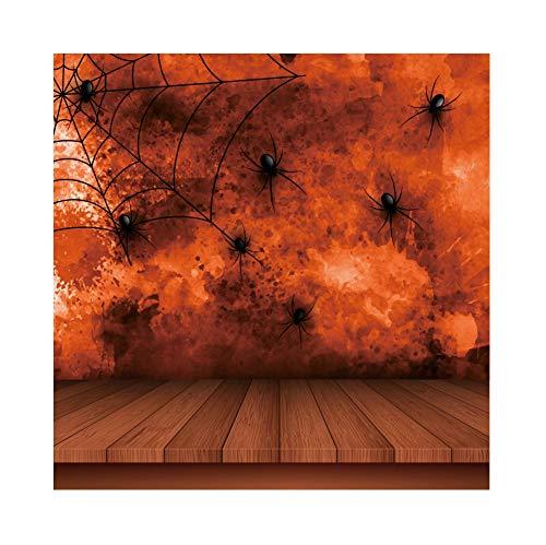 OERJU 1,5x1,5m Halloween Hintergrund Spinnennetz Holzbrett Tapete Hintergrund Halloween Party Fotografie Süßes oder Saures Kinder Party Banner Dekoration Porträt