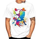 ♚Blusa de los Hombres, Camiseta de la Impresión de la Moda Camisetas de Impresión Camisa de Manga Corta Camiseta Blusa Absolute (S, Blanco 1 )