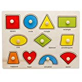 Holzsammlung® 11 Pcs Creative Classic Wooden Educational Shape Matching Pegged Puzzles for Kids - Perfect Christmas Gift for Your Kids