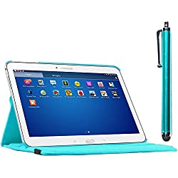 ebestStar - Compatible Coque Samsung Galaxy Tab 4 10.1 SM-T530, T533 T531 T535 Housse Protection Etui PU Cuir Support Rotatif 360 + Stylet, Bleu [Appareil: 243.4 x 176.4 x 8mm, 10.1'']