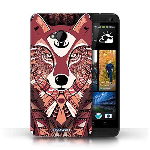 Coque de Stuff4 / Coque pour HTC One/1 M7 / Loup-Bleu Design / Motif Animaux Aztec Collection Loup-Rouge