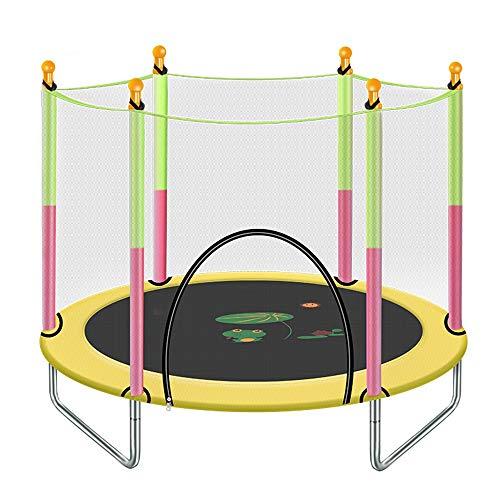 HANSHAN Gartentrampoline Trampolin, Kindertrampolin Mit Schutzgitter Großes Outdoor-Hinterhoftrampolin 5 Farbe 55 × 49 Zoll (Color : Yellow)