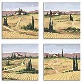 Artland Leinwandbilder auf Holz Wandbild Bild Set 4 teilig je 30x30 cm Quadratisch Landschaft Italien Malerei Ocker Toskana K2VV