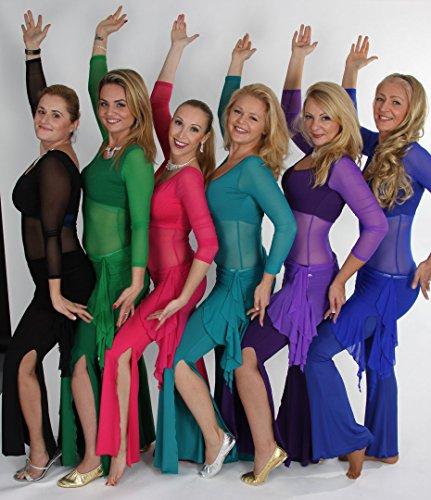 H: oter Langarmshirt Belly Dancing Top und Hose , mit Quaste Bling Hip Schals, Preis / Set - (Tanz Kostüme R&b)