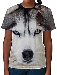 Tshirt imprimé partout pour fille Loup Haut imprimé Vêtements été