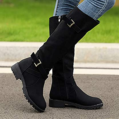 BANAA Womens Over The Knee Boots, Knee High Shoes Calf Biker Boots Ladies Zip Punk Shoes Combat Army Boots Plus Size Shoes Boots 2